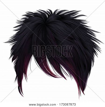 trendy woman short  hairs  black pink  colors .  long fringe . fashion beauty style . emo Japanese .
