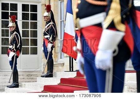 PARIS FRANCE - JUNE 10: Hotel Matignon Republican Guards of honor during a welcome ceremony on JUNE 10 2016 in Paris. Matignon is the official residence of the Prime Minister of France.