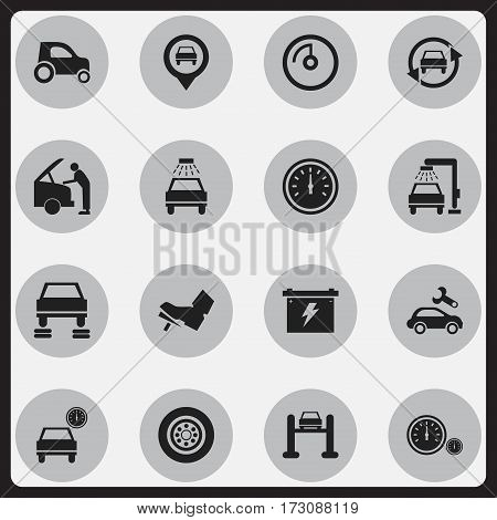 Set Of 16 Editable Transport Icons. Includes Symbols Such As Automotive Fix, Auto Repair, Car Lave And More. Can Be Used For Web, Mobile, UI And Infographic Design.