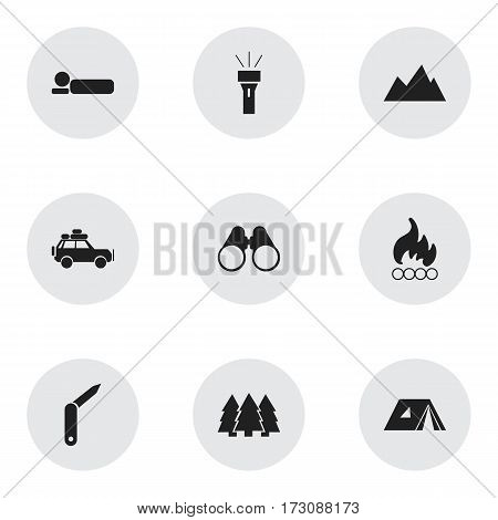 Set Of 9 Editable Trip Icons. Includes Symbols Such As Bedroll, Field Glasses, Voyage Car And More. Can Be Used For Web, Mobile, UI And Infographic Design.