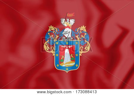 Flag of Arequipa Peru. 3D Illustration. Close up.