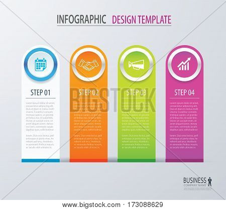 Business infographics with 4 steps number options. Can be used for workflow layout diagram data banner web design.