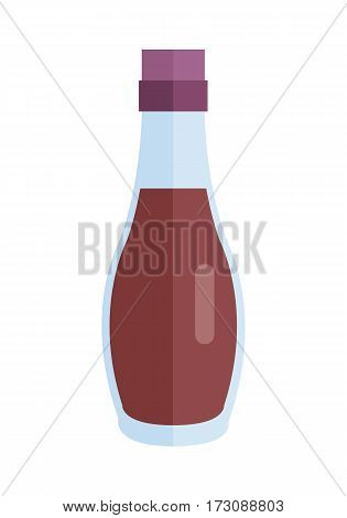 Bottle with sauce vector. Flat design. Small jar filled soy sauce. Cooking base product concept. Illustration for icon, label, print, menu design, infographics. Isolated on white background.