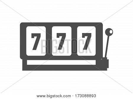 Classic slot machine vector monochrome, black color. Gambling attraction with winning combination of sevens. One handle bandit