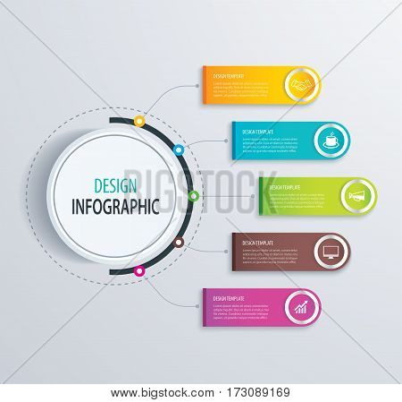 Timeline infographic design vector and marketing icons.Can be used for workflow layout diagram data options banner web design.Business concept with 5 steps or processes.