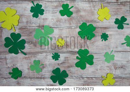 Many Handmade Leaf Clover. Irish National Holiday, St. Patricks Day