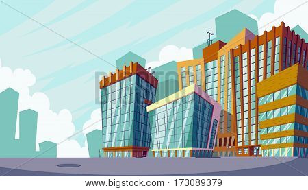 Vector cartoon illustration of an urban landscape with large modern buildings. Business city district with skyscrapers, modern apartment buildings. The concept of urban life.