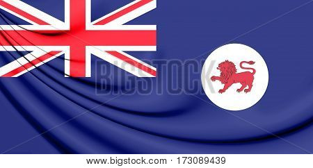 Flag of Tasmania Australia. 3D Illustration. Close up.