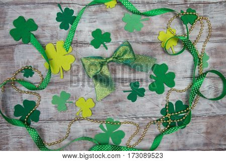 Set Of Accessories For Day Of St. Patricks Bow And Clover