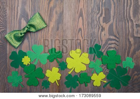 Shiny Green Bow And Clover Leaves Traditional Irish Decoration