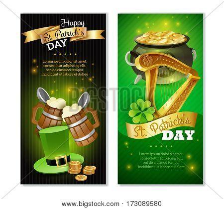 Saint Patricks day vertical banners set with celebration symbols cartoon isolated vector illustration
