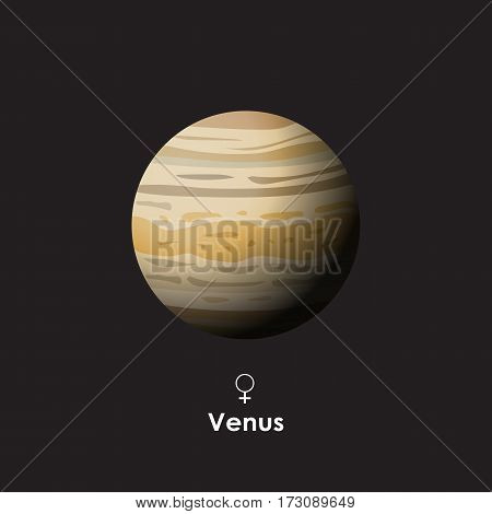 Vector Venus on dark background with symbol