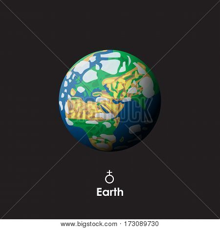Vector Earth on dark background with symbol