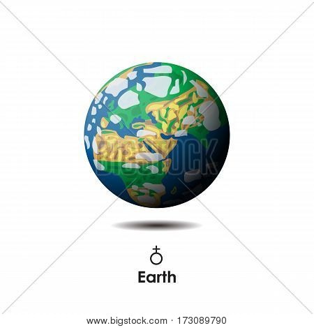 Vector Earth on white background with symbol