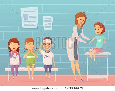 Child diseases at doctors office composition with ill cartoon characters of suffering children and female pediatrician vector illustration