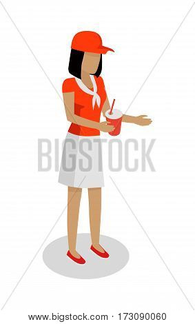 Street food seller isolated. Woman in red and white uniform sales cola. Cartoon character with refreshment drink. Concept illustration for street food consumption. Fast food. Vector in flat design