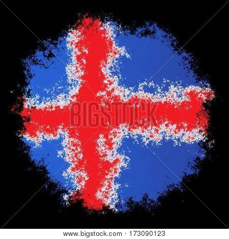 Color spray stylized flag of Iceland on black background
