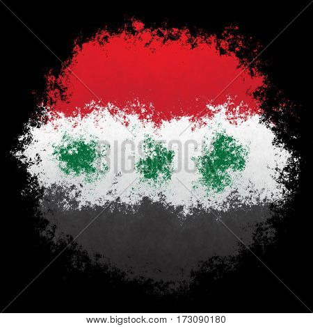 Color spray stylized flag of Iraq on black background