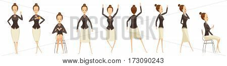 Set of various poses of business woman with emotions on face cartoon style isolated vector illustration