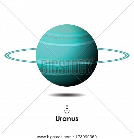 Vector Uranus on white background with symbol