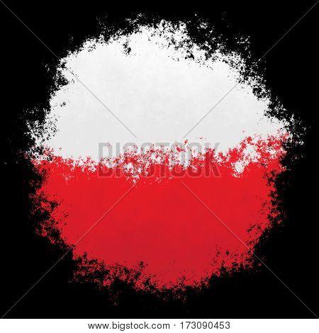 Color spray stylized flag of Poland on black background