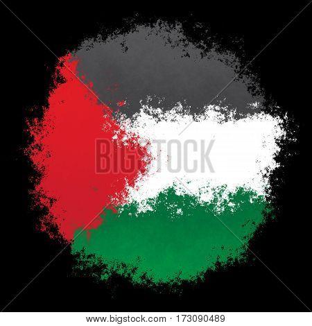 Color spray stylized flag of Palestine on black background