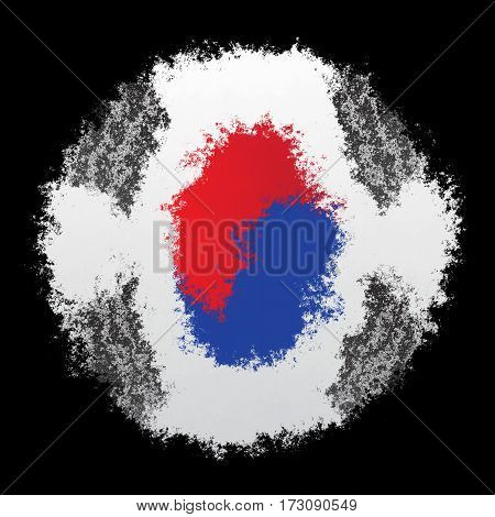 Color spray stylized flag of South Korea on black background