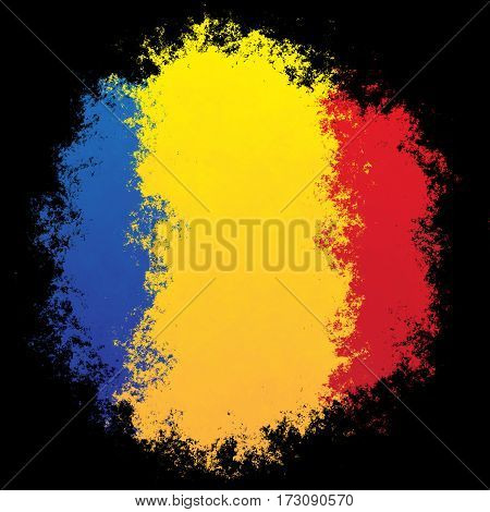 Color spray stylized flag of Romania on black background