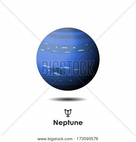 Vector Neptune on white background with symbol