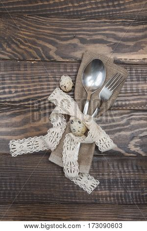 Cutlery Fork, Spoon And Quail Eggs. Easter Table Setting