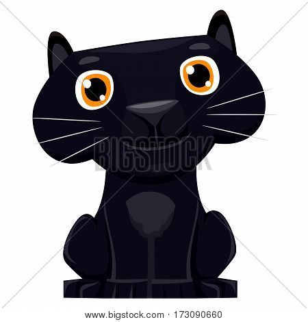 Illustration of a cute cartoon Black Panther