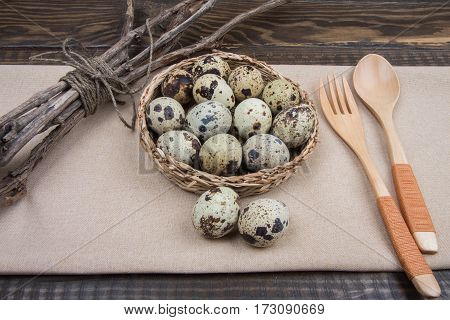 Rustic Easter Background Quail Eggs, Twigs Tree, Spoon And Fork
