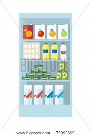 Shelve in shop with food products vector.  Assortment of goods in grocery section in supermarket. Juice, eggs, preserves, milk,  illustrations for stores ad, shopping and merchandising concepts.