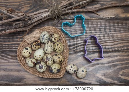 Easter Still Life Of Quail Eggs, Cookie Cutters In Form Of Birds