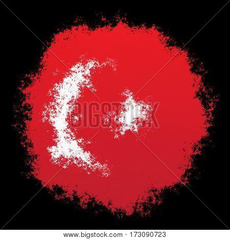 Color spray stylized flag of Turkey on black background
