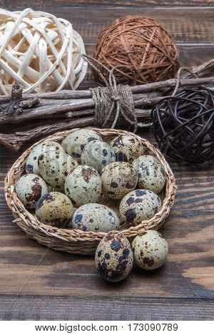 Quail Eggs In A Wicker Plate On The Easter Table