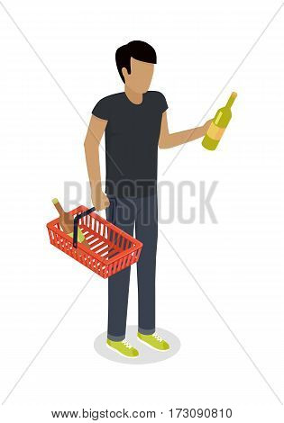 Man with cart purchases in flat design. Shop cart customer male buy , trolley with purchase, consumer with goods, food product in cart, buyer man, shopper. Cartoon character. Vector illustration