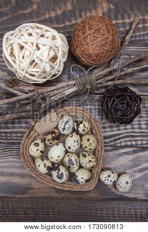 Quail Eggs, Rattan Balls, Heart And Twigs Of Tree