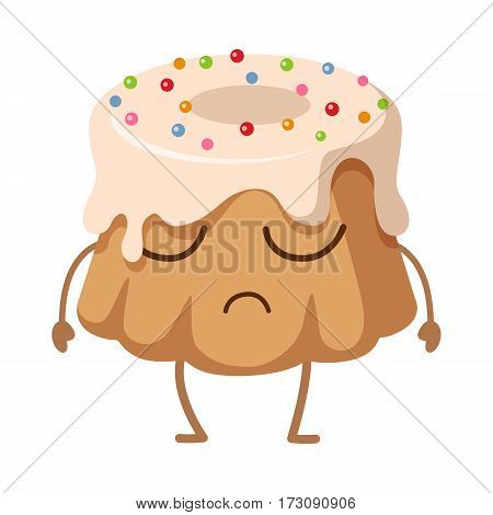 Big round cake with hole inside. Upset cartoon character. Sweets. Illustration of isolated chocolate cupcake with topping and colourful ball bubbles. Simple cartoon style. Flat design. Vector