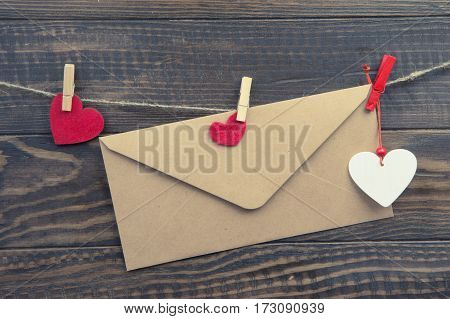 Envelope And Hearts On Clothespin On Rope. Valentines Day