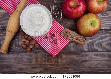Set For Cooking Baking With Apples, Nuts And Spices. Top View