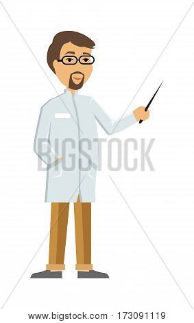 Doctor or scientist character icon. Man in white coat with pointer in hand flat vector illustration isolated on white. Therapist or laboratory assistant. For medical, healthcare, scientific concept