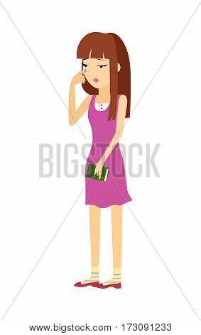 Young woman in depression. Pretty girl cartoon character with notebook in hand crying flat vector illustration isolated on white background. Psychological problems. Human fillings and emotions concept