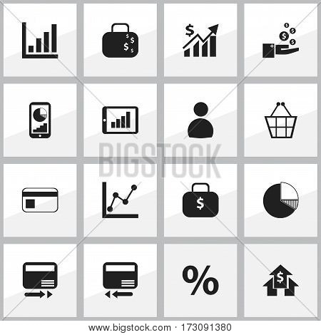 Set Of 16 Editable Analytics Icons. Includes Symbols Such As Bar Chart, Credit Card, Circle Diagram And More. Can Be Used For Web, Mobile, UI And Infographic Design.