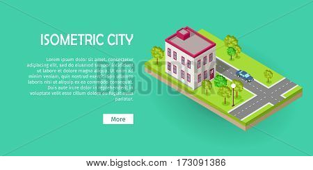 Isometric icon of two storey office center near the road web banner. Building house architecture, street of urban town, map and construction, residential office or home. Vector in flat style design.
