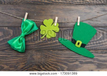 Irish Holidays Symbols On Clothespins To St. Patrick's Day