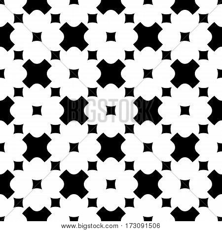 Vector monochrome seamless pattern. Stylish geometric texture. Simple black & white rounded figures, crosses & squares. Abstract minimalist background. Modern design for prints, decoration, textile, fabric, cloth