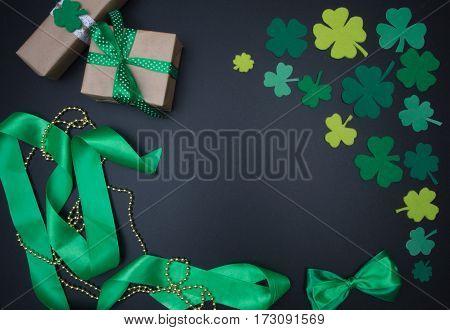 Green Shamrocks And Quatrefoil On Black Background. St. Patricks Day