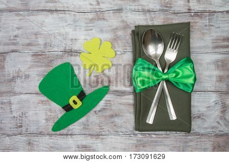 Dinner St. Patricks Day Cutlery And Festive Decorations On Table