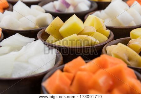 Yukon Gold Potato Cubes In Array Of Root Vegetables